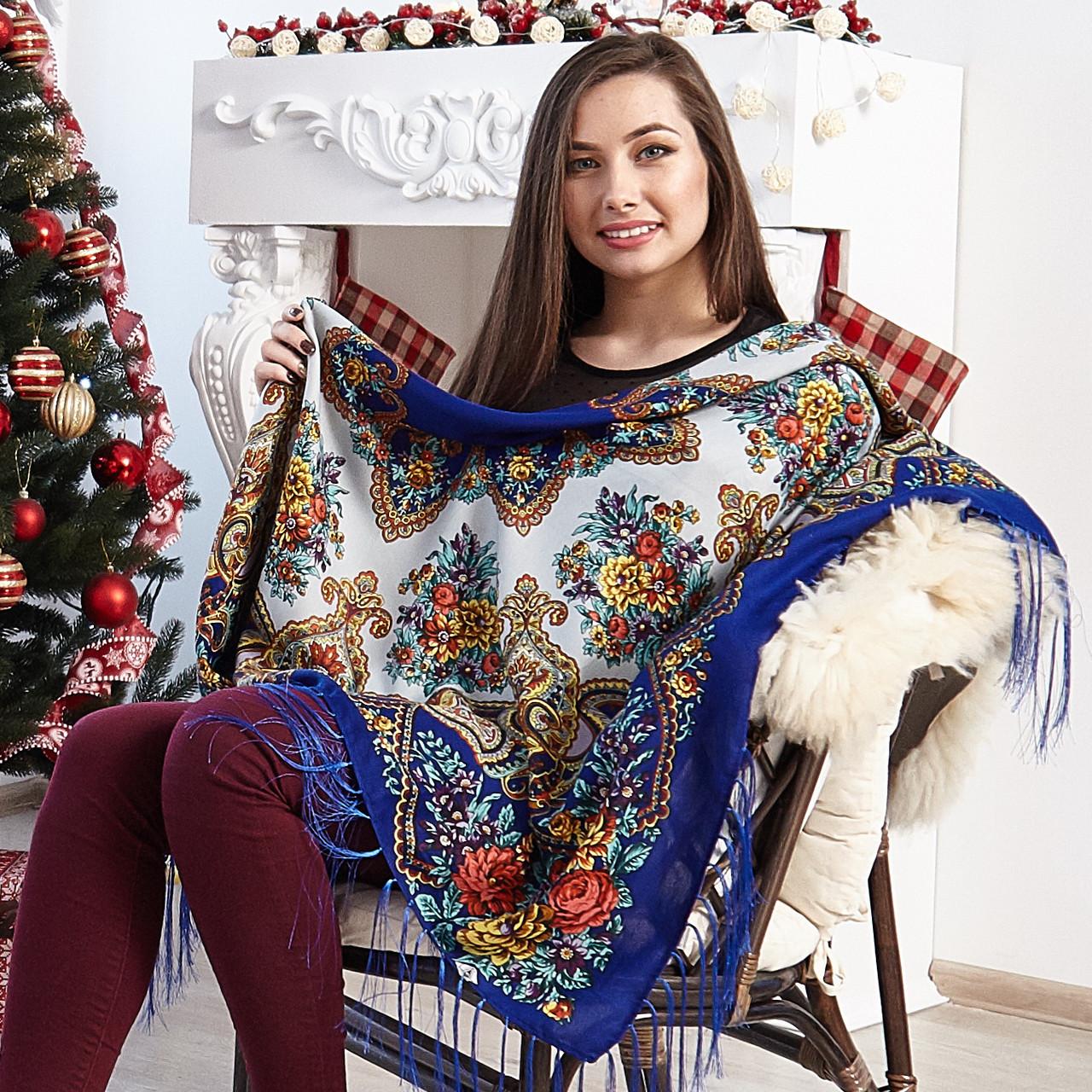 Нежный платок с цветами для женщин (120х120см,  80%-шерсть)