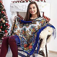 Нежный платок с цветами для женщин (120х120см,  80%-шерсть), фото 1