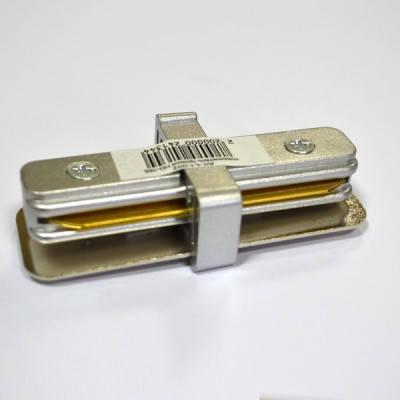 Соединитель для треков прямой 180* однофазный 16A серебро Код.57293, фото 2