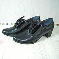 Женские кожаные туфли на устойчивом каблуке, на шнуровке