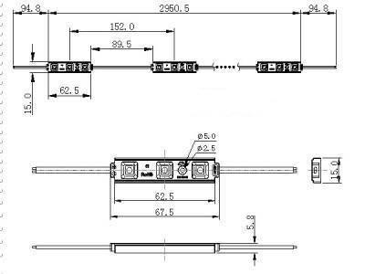 Светодиодный модуль SMD 5050/3CW LED 120* холодный белый IP67 Код.57606, фото 2