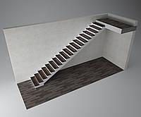 Прямая бетонная лестница гладкоподшитая