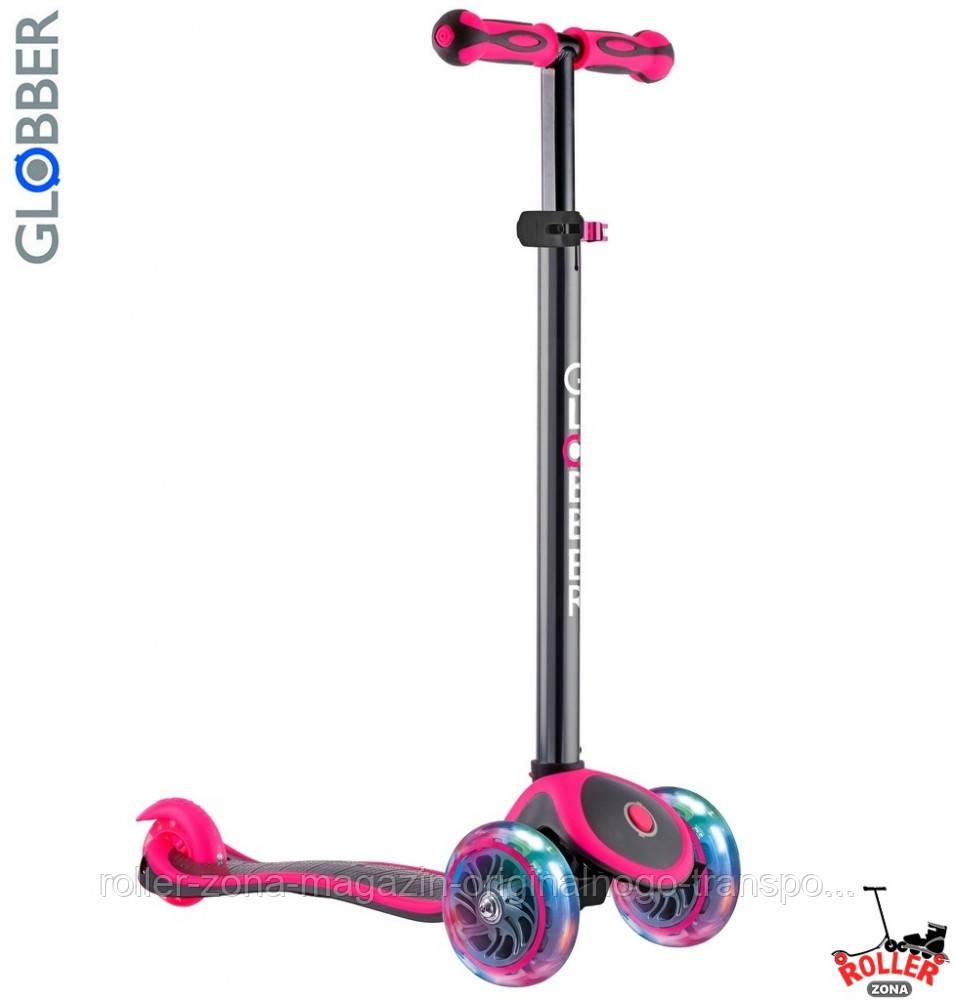 Самокат GLOBBER PRIMO PLUS TITANIUM со светящимися колесами Розовый
