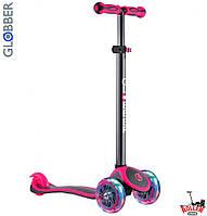 Самокат GLOBBER PRIMO PLUS TITANIUM со светящимися колесами Розовый, фото 1