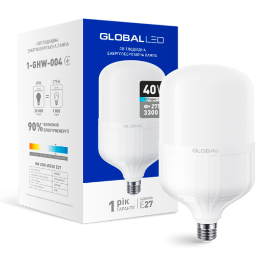 Светодиодная лампа высокомощная GLOBAL 40W 6500K E27 Код.58280