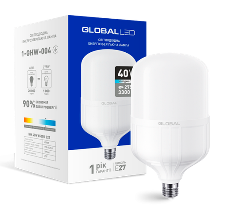 Светодиодная лампа высокомощная GLOBAL 40W 6500K E27 Код.58280, фото 2