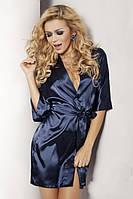 Домашний комплект атласный: халат и пеньюар размер L (48) шелк темно-синий