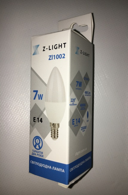Светодиодная лампа Z- LIGHT ZL1002 7W С37 E14 4000K Код.58783