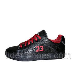 Кроссовки подростковые кожаные черные