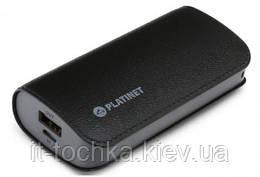 Портативное зарядное устройство platinet leather 5200mah black power bank (pmpb52lb)