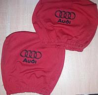 Чехлы на подголовник Audi Ауди красные 2 шт