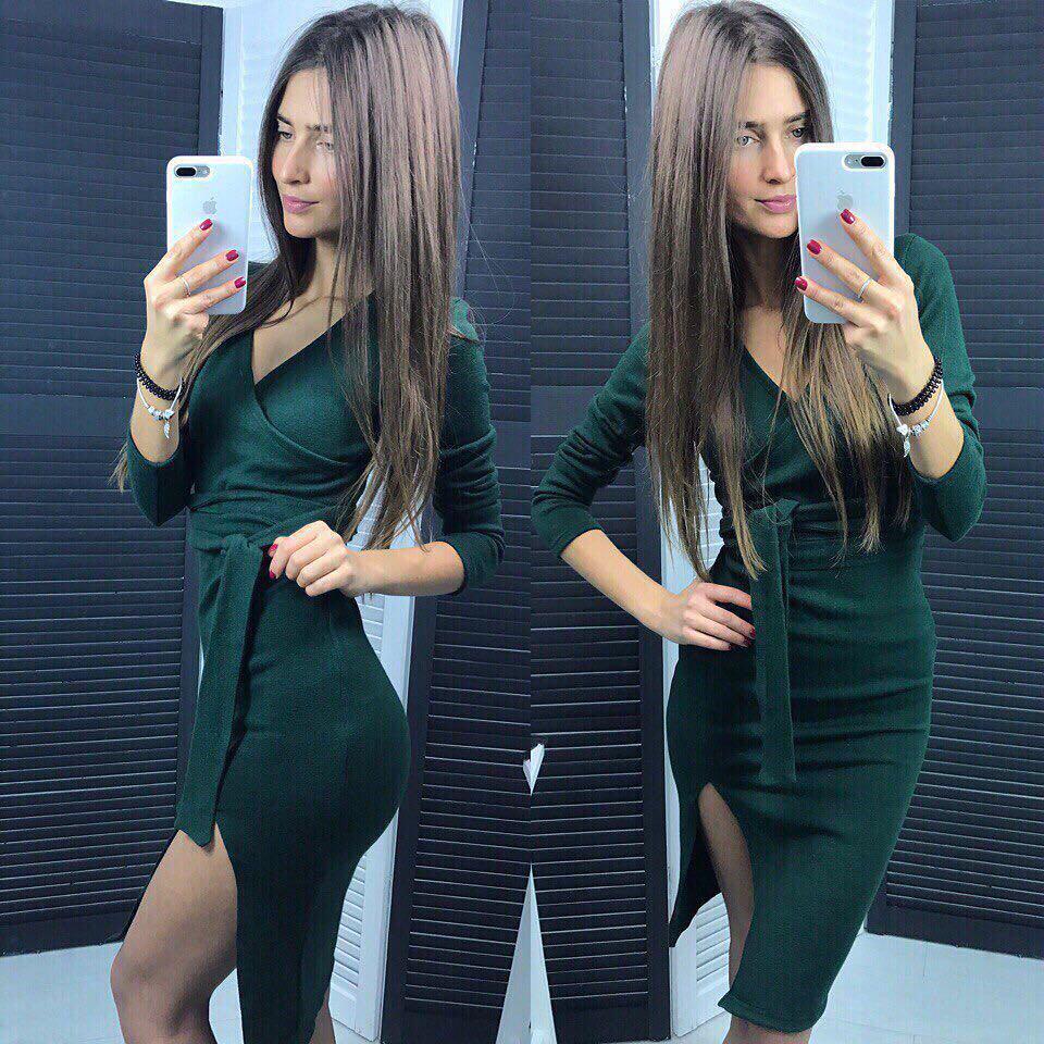 e6b596ce79c Платье футляр с верхом на запах и разрезом на ноге   продажа