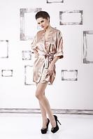 Домашний комплект атласный: халат и пеньюар размер XXL (48-50), шелк, кремовый