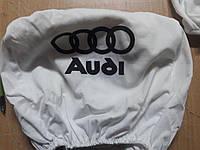 Чехлы на подголовник Audi Ауди белые 2 шт