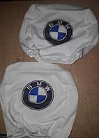 Чехлы на подголовник BMW Бмв белые 2 шт