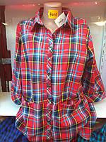 Женская рубашка-платье батал с карманами  р. 50-58