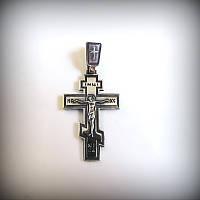 4008 Крест мужской из черненного серебра  925 пробы