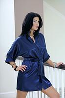 Домашний комплект атласный: халат и пеньюар размер XXL (48-50) шелк синий электрик