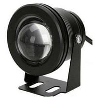 Светодиодный круглый линзованый прожектор SL-10-12 10W 12V 6500К IP67 черный Код.58502