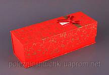 Коробка подарочная для бутылки красная.34,5х12,5х11 см.