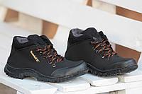 Ботинки полуботинки  зимние мужские исскуственый нубук прошиты черные Львов (Код: М188). Только 40р!