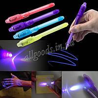 Ручка однотонная с невидимыми чернилами и ультрафиолетовым фонариком