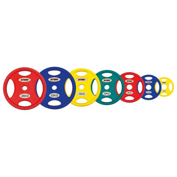 Блины для зала, диски для зала, с ручками, Stein - цветные, полиуретановые