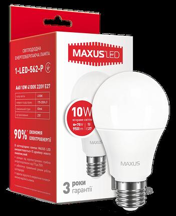 Светодиодная лампа Maxus 562-Р А60 10W 4100K 220V E27 Код.53045, фото 2