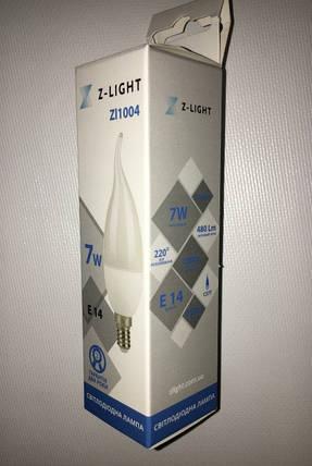 Светодиодная лампа Z- LIGHT ZL1004 7W С37 E14 4000K (свеча на ветру) Код.58784, фото 2