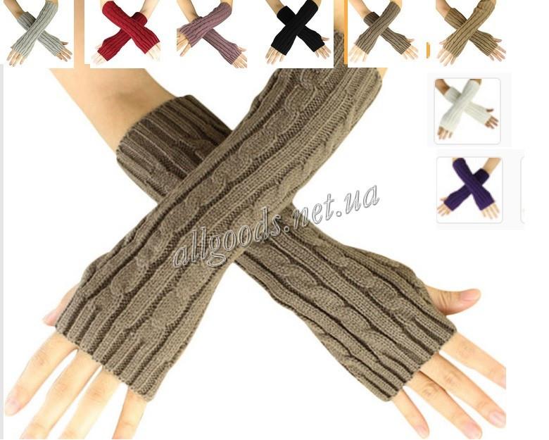 Митенки длинные перчатки без пальцев теплые. Разные цвета