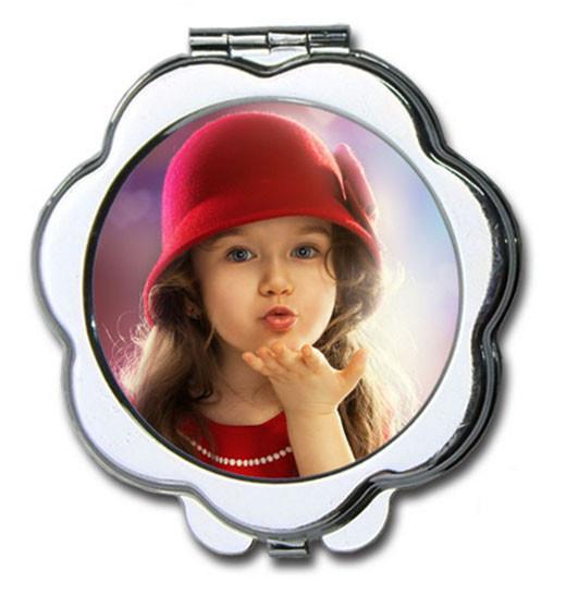 """Зеркальце металлическое в форме """"Цветок"""" с Вашим дизайном"""
