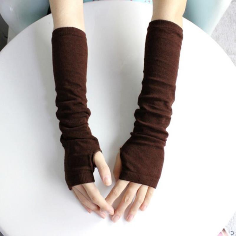 Митенки длинные перчатки без пальцев Коричневые