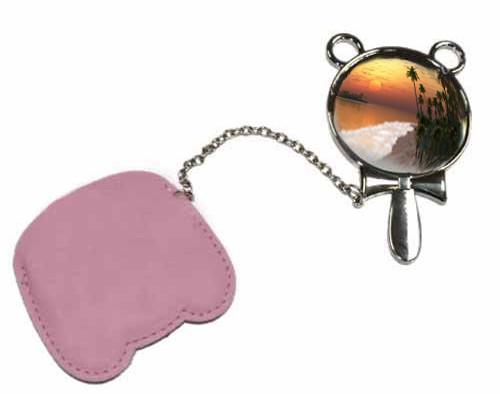 Зеркальце с ручкой в розовом чехле с Вашим дизайном