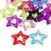 Бусины звезды акриловые, микс,  33х33х8 мм ( 10 шт) УТ00030158