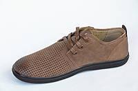 Мужские мокасины туфли летние легкие стильные сетка коричневые в дырочку (Код: 363а)
