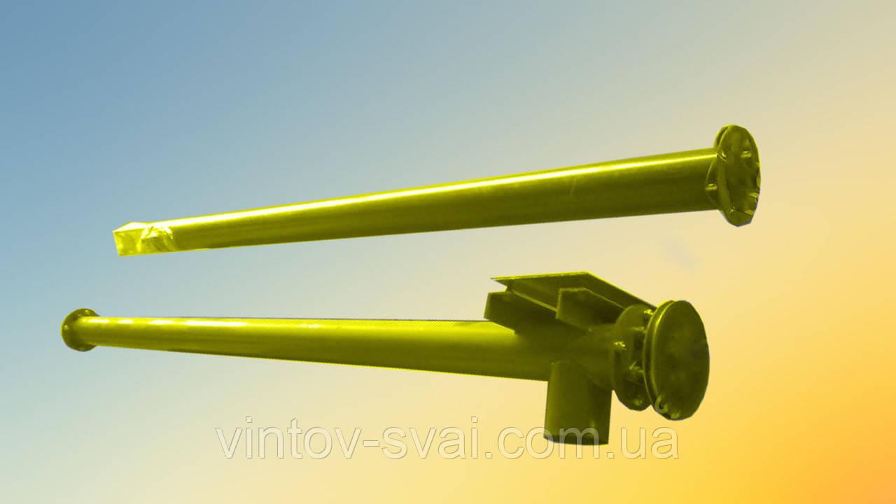 Шнек в сборе без двигателя в трубе 108 мм, длиной 2 м, шаг спирали 100 мм, толщина спирали 2 мм
