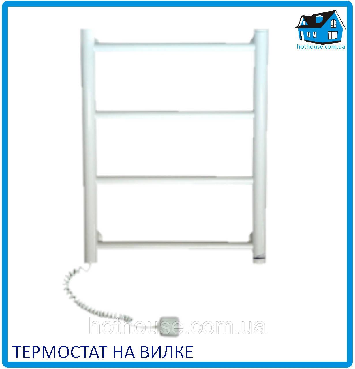 """Электрический полотенцесушитель ЭЛНА """"Лесенка-4"""" белый термостат"""