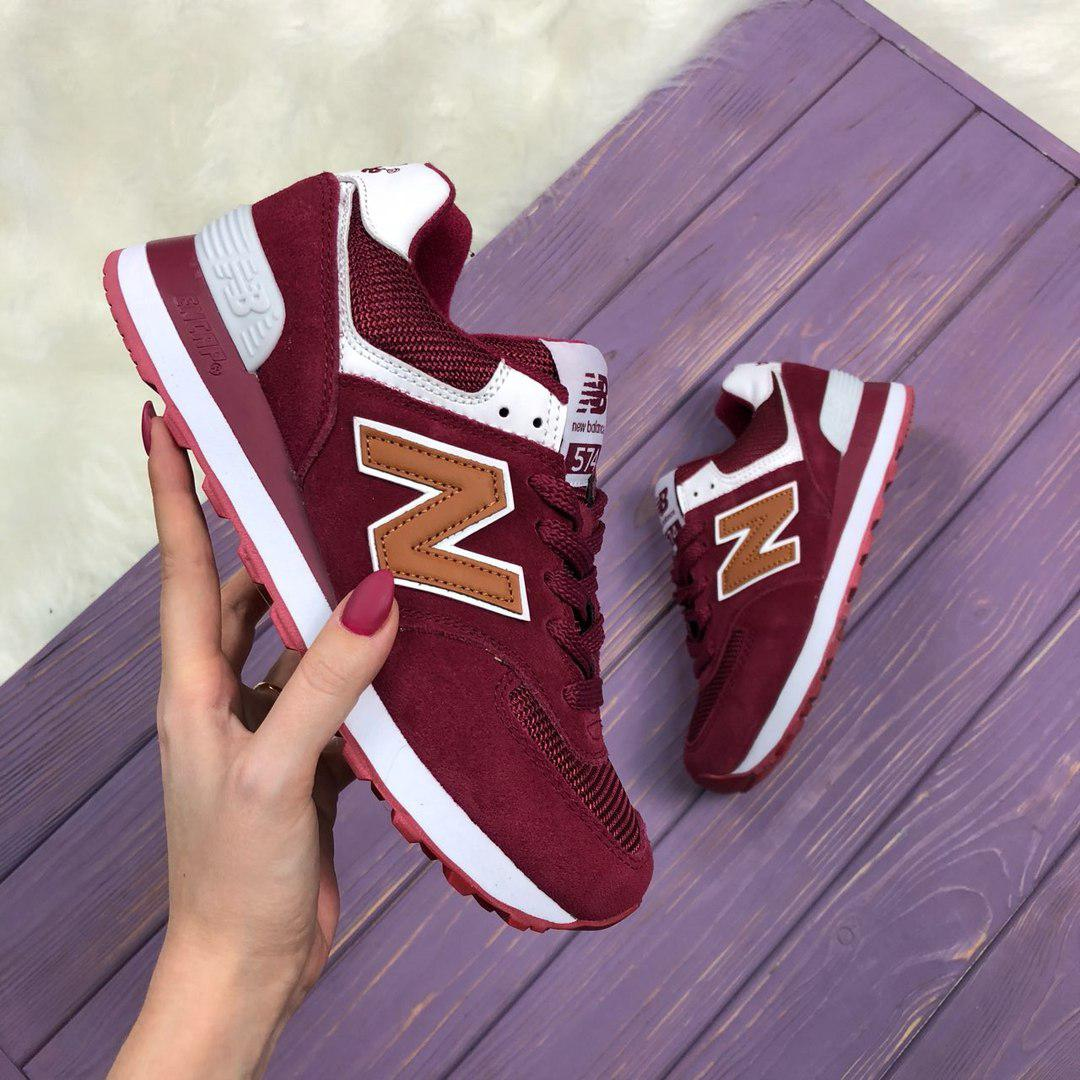 Кроссовки New Balance 574 bordo maroon. Живое фото (Реплика ААА+)