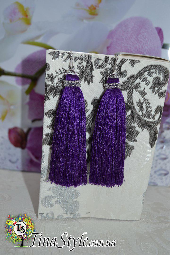 Серьги сережки кисть фиолетовые кисточки длинные висячие вечернее НОВИНКА Кисти фиолетовый цвет бисер