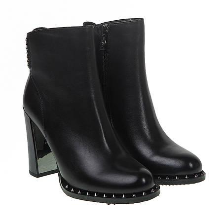 Ботильоны женские Brocoli (кожаные, черные, на высоком каблуке)