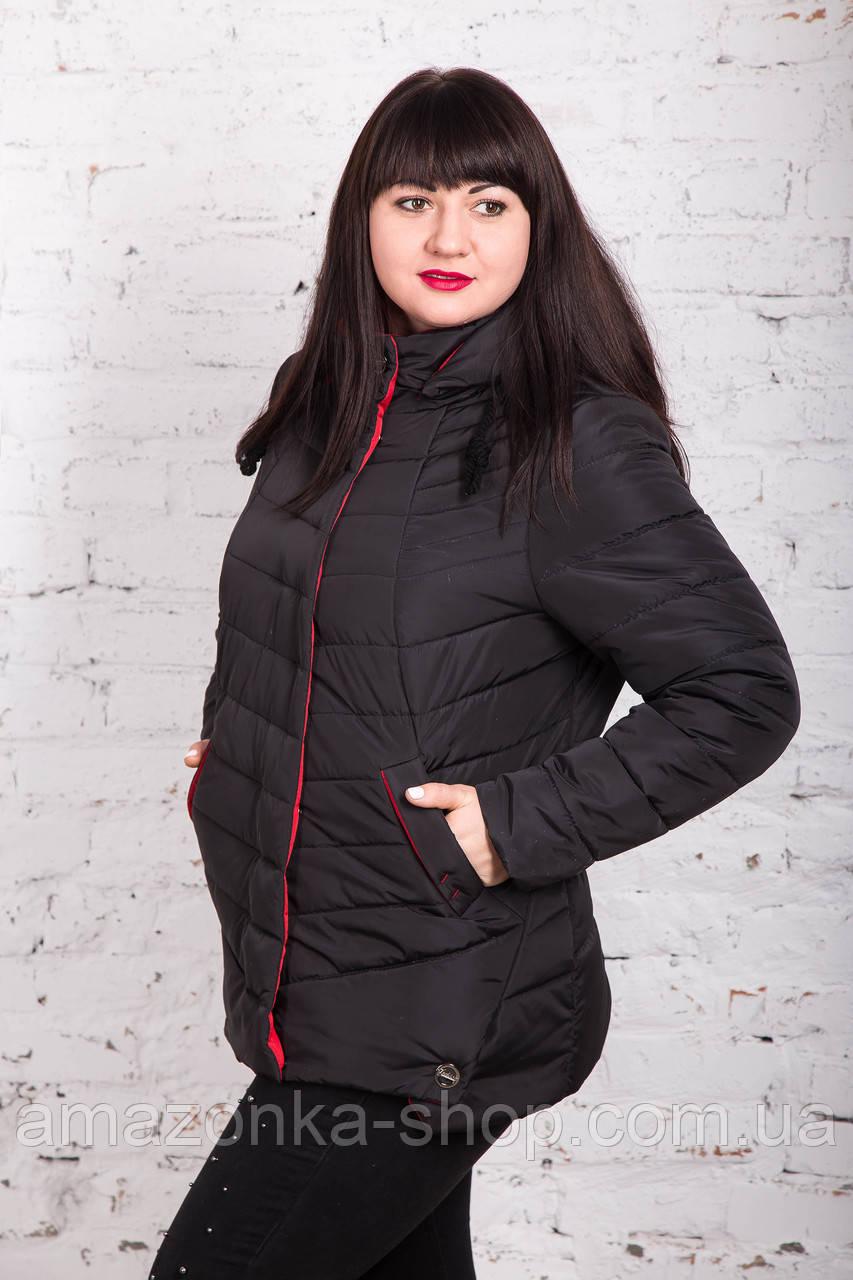 Весенняя женская куртка батальных размеров на весну модель 2018 - (кт-246)