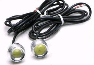 Линзованные ходовые огни 12V 3W Вт с гайкой хром Код.58111, фото 2