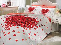 Постельное белье Hobby Poplin Juana красное Двуспальный евро комплект простынь без резинки