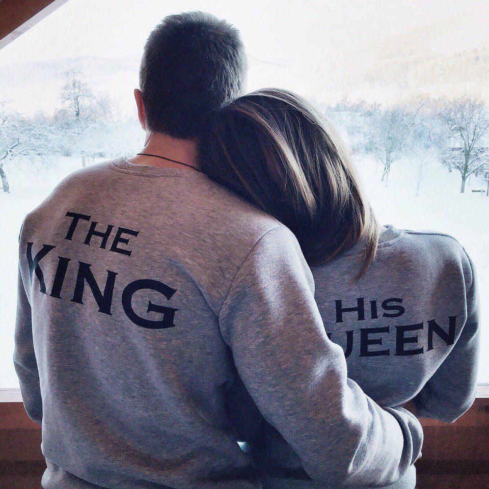 Свитшоты his king, his queen, сірий