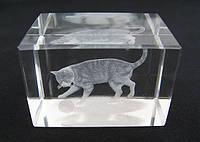 Статуэтка хрусталь голограмма Кот