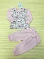 Пижама на девочку,розовая ,цветочный принт,хлопок