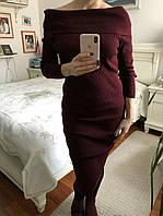 Платье женское вязаное, рукав 3/4, цвет - бордо, 380/350 (цена за 1 шт. + 30 гр.)