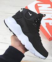 Зимние кроссовки Nike Air Huarache black/white (хуарачи)