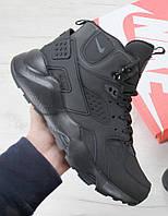 Зимние кроссовки Nike Air Huarache black (Реплика ААА+)