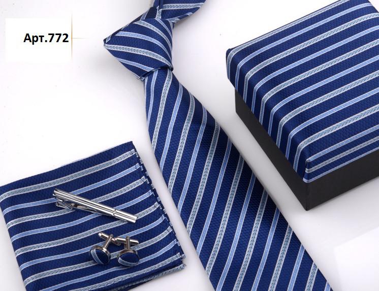 Подарунковий набір синій: краватку, запонки, хустку, затискач
